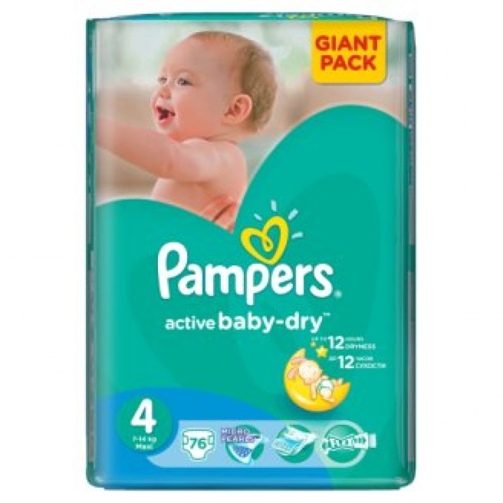 PAMPERS active baby-dry 4 maxi 76ks