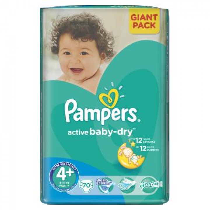 PAMPERS active baby-dry 4+ maxi 70ks