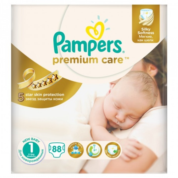 PAMPERS premium care 1 new 88ks