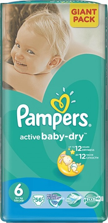 PAMPERS active baby-dry 6 large 56ks