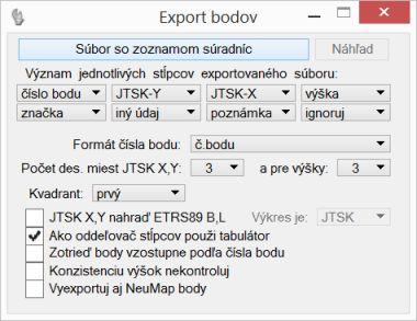 dial�gov� okno Export bodov