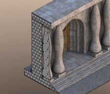 MicroStation - príklad vizualizácie 3D modelu s použitím materiálov v rezoch