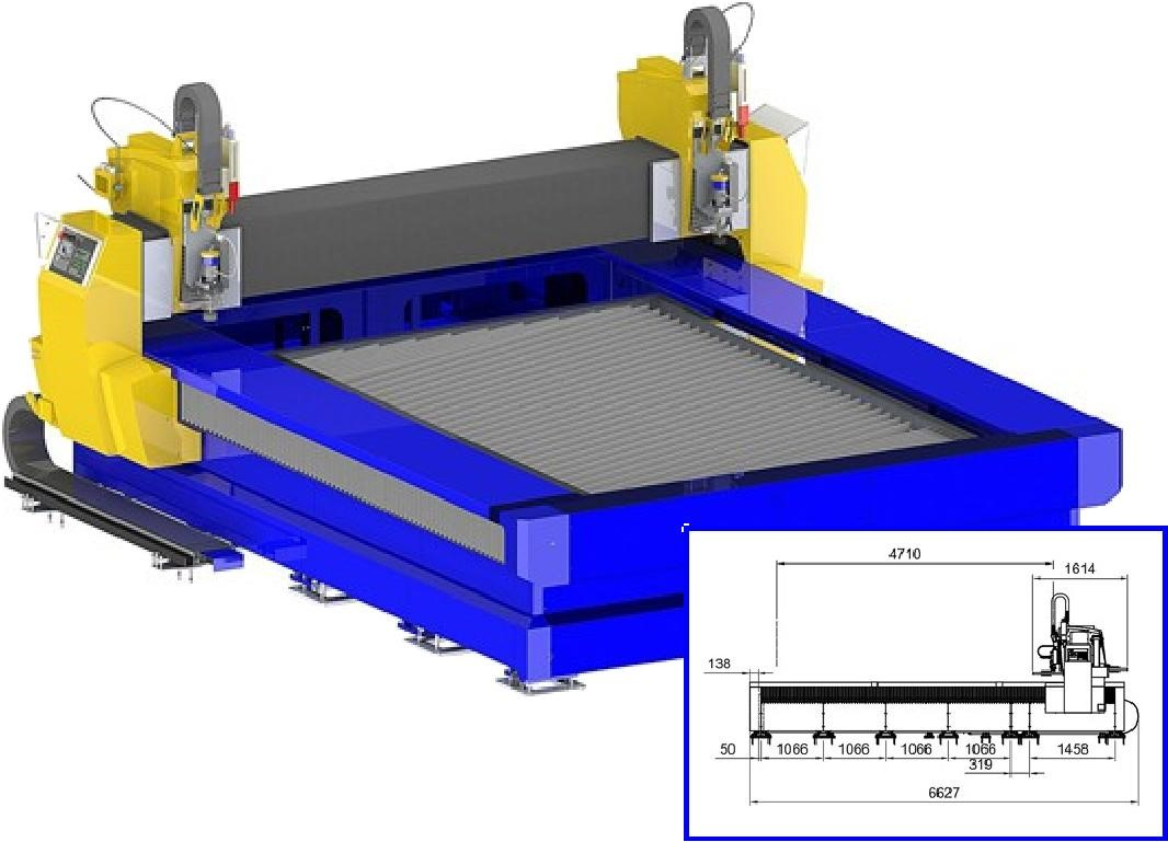 CNC waterjet cutting machine AquaCut with 4 x 3 m work area and 2 straight cutting tool stations