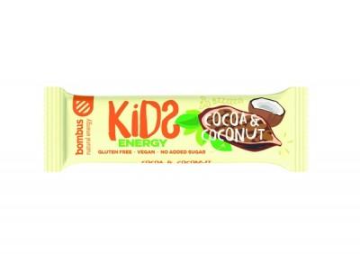 Bombus – KIDS, kakao 40g - Tyčinka zo sušeného ovocia a kokosu, bez konzervačných látok, lepku, mlieka, sóje a pridaného cukru. Obsahuje iba prírodzene sa vyskytujúce cukry. Vyrobené bez tepelnej úpravy.